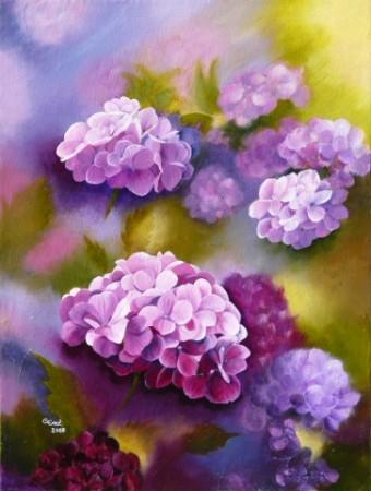 TABLEAU PEINTURE - fleurs d'-hortensia